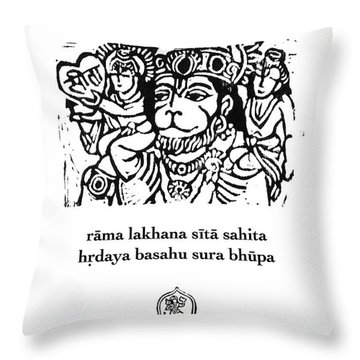 Black And White Hanuman Chalisa Page 58 Throw Pillow by Jennifer Mazzucco