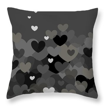 Black And White Heart Abstract Throw Pillow