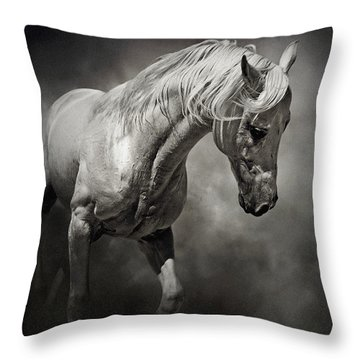 Black And White Horse - Equestrian Art Poster Throw Pillow