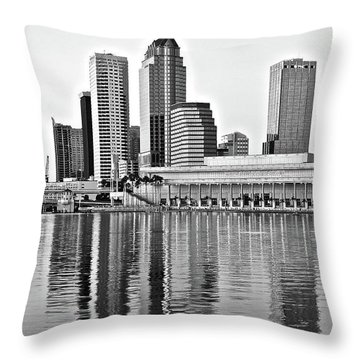Black And White In The Heart Of Tampa Bay Throw Pillow