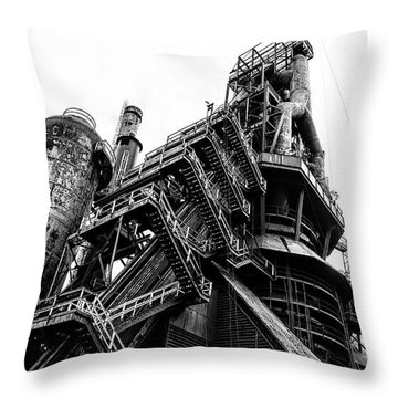 Black And White Industrial - Bethlehem Steel Throw Pillow by Bill Cannon