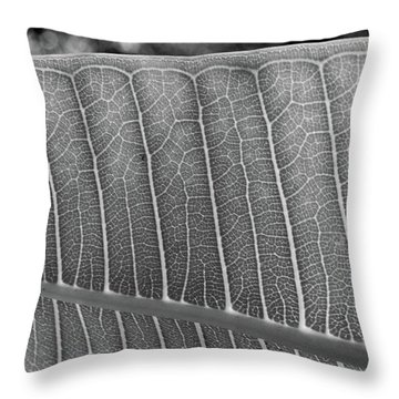 Black And White Leaf Throw Pillow