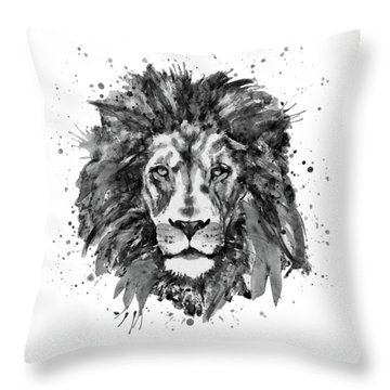 Throw Pillow featuring the mixed media Black And White Lion Head  by Marian Voicu