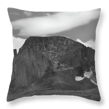 Throw Pillow featuring the photograph Black And White Longs Peak Detail by Dan Sproul