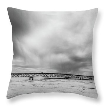 Throw Pillow featuring the photograph Black And White Mackinac Bridge Winter by John McGraw