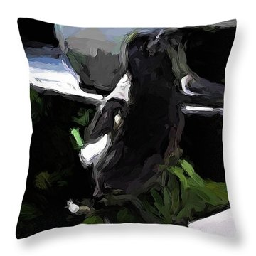 Black And White Magpie On The Porch Throw Pillow