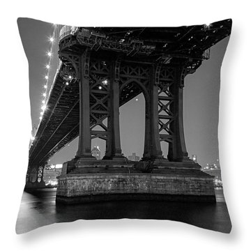 Throw Pillow featuring the photograph Black And White - Manhattan Bridge At Night by Gary Heller