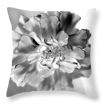 Black And White Marigold Throw Pillow by Christine Ricker Brandt