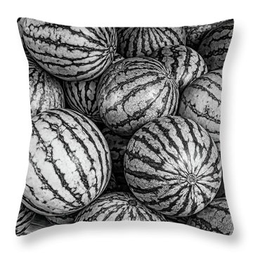 Black And White Mellons Throw Pillow
