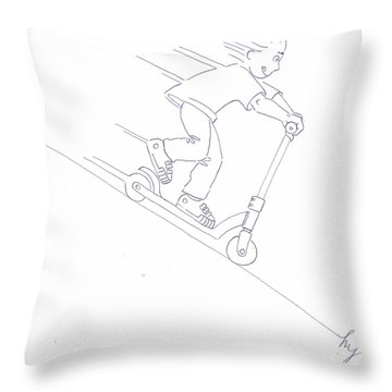 Black And White Micro Scooter Downhill Drawing Throw Pillow