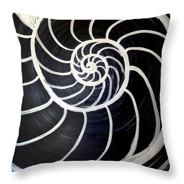 Black And White Nautilus Spiral Throw Pillow