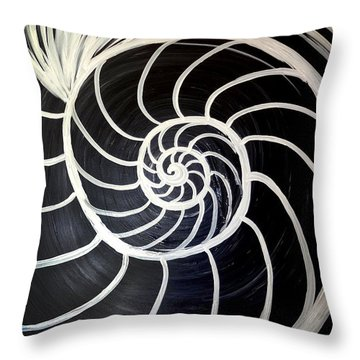 Black And White Nautilus Spiral Throw Pillow