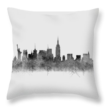 Throw Pillow featuring the digital art Black And White New York Skylines Splashes And Reflections by Georgeta Blanaru
