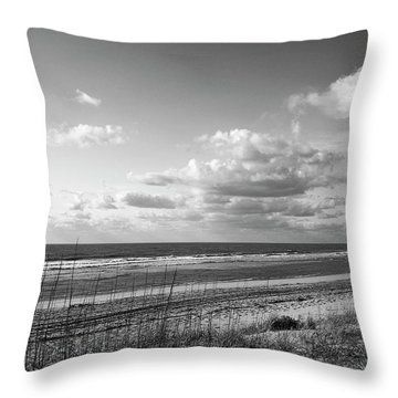 Black And White Ocean Scene Throw Pillow