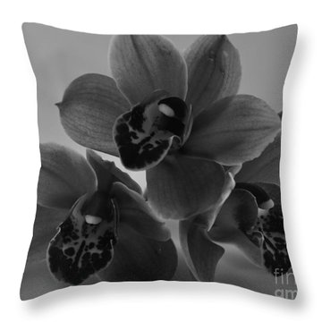 Black And White Orchid Pyramid Throw Pillow