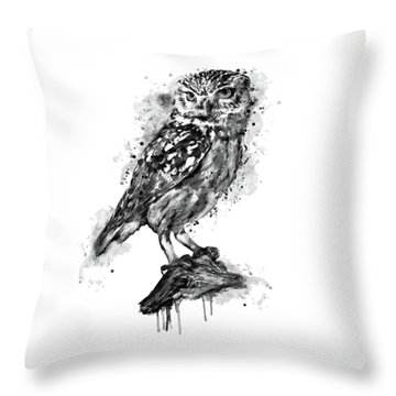 Throw Pillow featuring the mixed media Black And White Owl by Marian Voicu