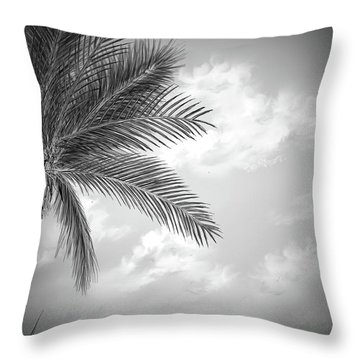 Throw Pillow featuring the digital art Black And White Palm by Darren Cannell