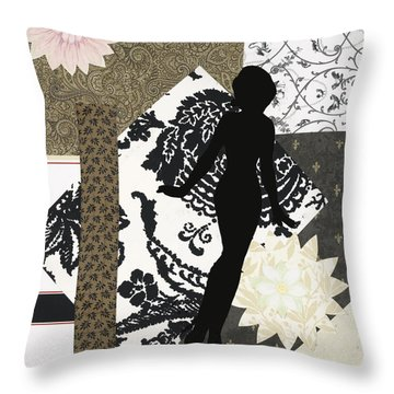 Black And White Paper Doll Throw Pillow