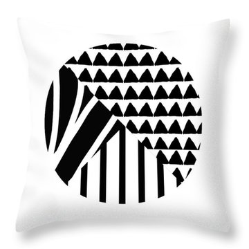 Black And White Patchwork Pattern Ball- Art By Linda Woods Throw Pillow