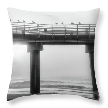 Throw Pillow featuring the photograph Black And White Pier Alabama  by John McGraw