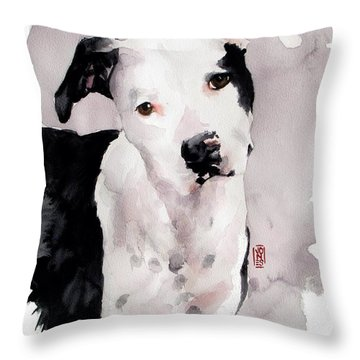 Black And White Pit Throw Pillow by Debra Jones