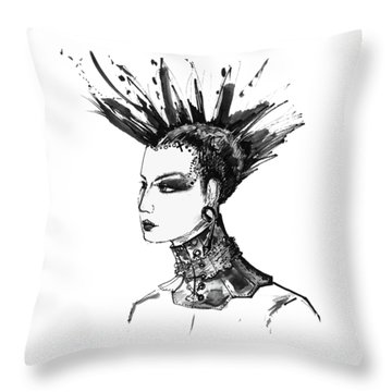 Throw Pillow featuring the digital art Black And White Punk Rock Girl by Marian Voicu