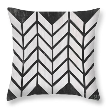 Throw Pillow featuring the painting Black And White Quilt by Debbie DeWitt