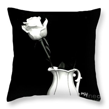 Throw Pillow featuring the photograph Black And White Rose Three by Marsha Heiken