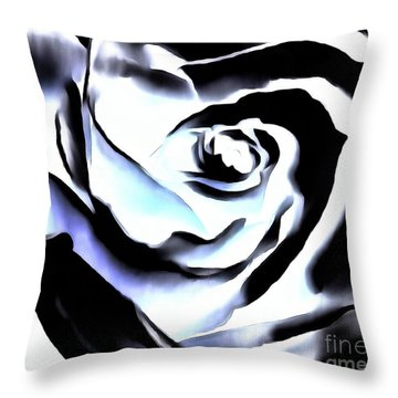 Throw Pillow featuring the photograph Black And White Rose - Till Eternity by Janine Riley