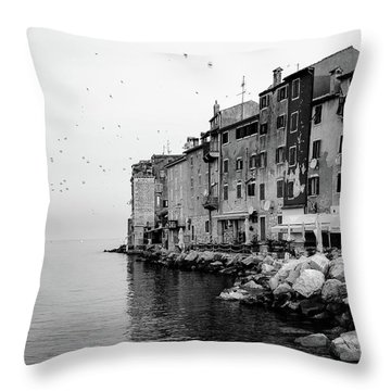 Black And White - Rovinj Venetian Buildings And Adriatic Sea, Istria, Croatia Throw Pillow