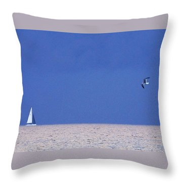 Black And White Sailboat And Seagull Throw Pillow