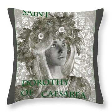Black And White Saint Dorothy Throw Pillow by Suzanne Silvir