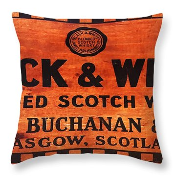 Black And White Scotch Whiskey Wood Sign Throw Pillow