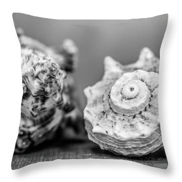 Black And White Shell Couple Throw Pillow by Heidi Hermes