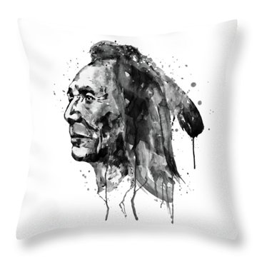 Throw Pillow featuring the mixed media Black And White Sioux Warrior Watercolor by Marian Voicu
