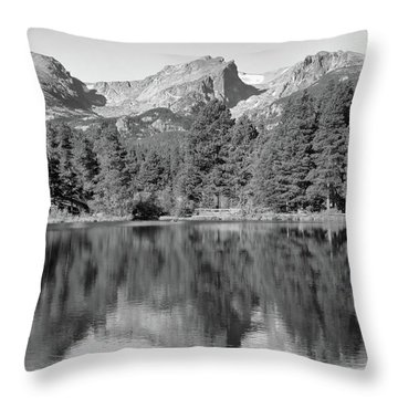 Throw Pillow featuring the photograph Black And White Sprague Lake Reflection by Dan Sproul