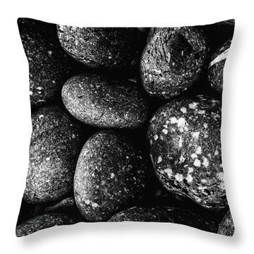 Throw Pillow featuring the photograph Black And White Stones One by Kevin Blackburn