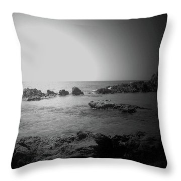 Black And White Sunset In Spain Throw Pillow