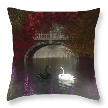 Black And White Swans Throw Pillow