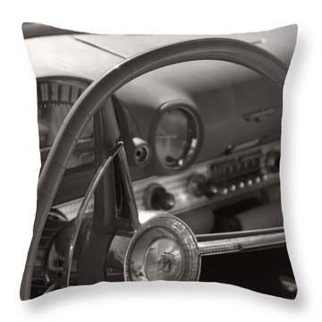 Black And White Thunderbird Steering Wheel  Throw Pillow by Heather Kirk