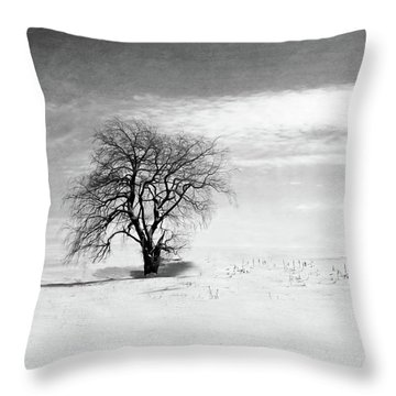 Black And White Tree In Winter Throw Pillow