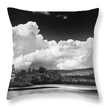Black And White Vienna Maine Flying Pond With Storm Clouds Fine Art Print Throw Pillow