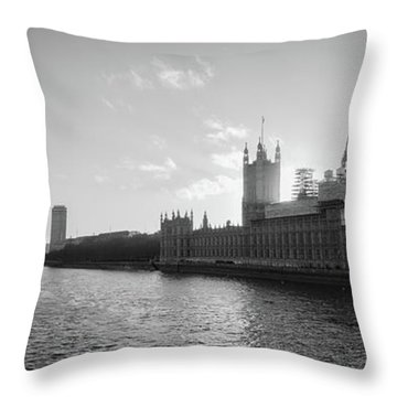 Black And White View Of Thames River And House Of Parlament From Throw Pillow
