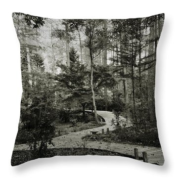 Black And White Vintage Edit -walk In Peace  Throw Pillow
