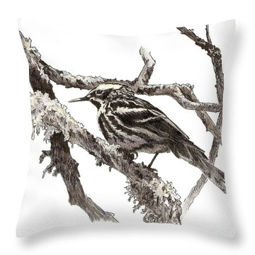 Black-and-white Warbler Throw Pillow