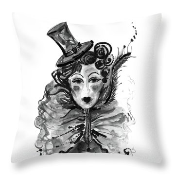 Throw Pillow featuring the mixed media Black And White Watercolor Fashion Illustration by Marian Voicu