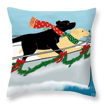 Black And Yellow Labs Boat To Christmas Throw Pillow