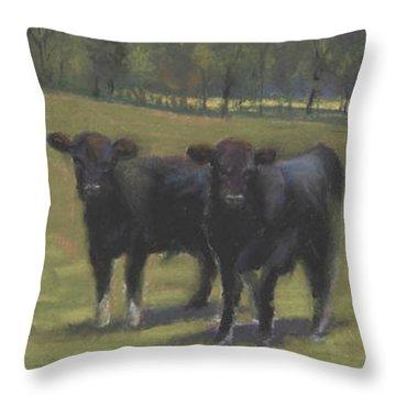 Black Angus Buddies Throw Pillow by Terri  Meyer