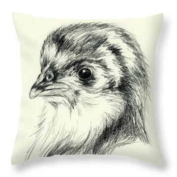 Black Australorp Chick In Charcoal Throw Pillow by MM Anderson