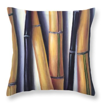 Throw Pillow featuring the painting Black And Gold Bamboos by Randol Burns